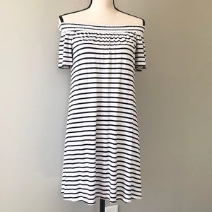 Striped off shoulder dress!